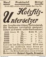 Original-Werbung/ Anzeige 1895 - HOLZFILZ UNTERSETZER / SPUTH - DRESDEN - Ca. 45 X 55 Mm - Werbung