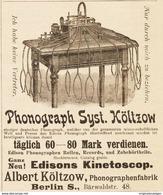 Original-Werbung/ Anzeige 1895 - PHONOGRAPH SYSTEM KÖLTZOW - BERLIN - Ca. 90 X 110 Mm - Reclame