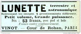 Original-Werbung/ Anzeige 1896 - LUNETTE / VINOT - COUR DE ROHAN - PARIS - Ca. 65 X 25 Mm - Werbung