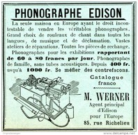 Original-Werbung/ Anzeige 1896 - PHONOGRAPHE EDISON / WERNER - PARIS- RUE RICHELIEU - Ca. 60 X 60 Mm - Reclame