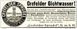 Original-Werbung/ Anzeige 1897 - CREFELDER SPRUDEL / GICHTWASSER - CREFELD / KREFELDca. 90 X 35 Mm - Pubblicitari
