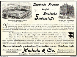 Original-Werbung/ Anzeige 1897 - DEUTSCHE FRAUEN KAUFET DEUTSCHE SEIDENSTOFFE /MICHELS - BOCKUM-CREFELD -ca.180 X 130 Mm - Pubblicitari