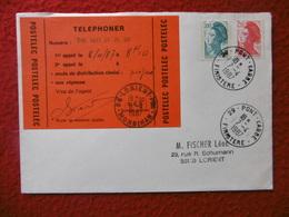 VIGNETTE POSTELEC SUR LETTRE CACHET LORIENT PONT L ABBE 1987 MARIANNE GANDON - 1961-....
