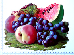 CHROMO DECOUPI CARTONNE...GRAND FORMAT..  LARGEUR  : 24 Cm......FRUITS...RAISIN...PASTÈQUE...PÊCHES - Découpis