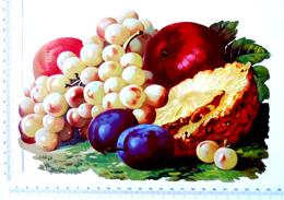 CHROMO DECOUPI CARTONNE...GRAND FORMAT..  LARGEUR  : 24 Cm......FRUITS...RAISIN...ANANAS...POMMES...PRUNES - Découpis