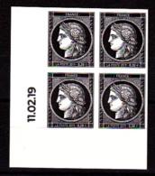 Cérès Bloc De 4 X 0.20 € Coin Daté 11.02.19 Non Dentelé, 170 Ans Du Premier Timbre De France 1849/2019 - France