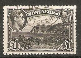 MONTSERRAT 1948 £1 SG 112 TOP VALUE OF THE SET FINE USED Cat £45 - Montserrat