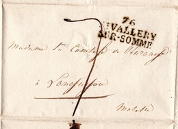 Lettre 1819 Saint Valery Sur Somme Forges De Longuyon Moselle Comtesse Hardy De Rurange - Marcophilie (Lettres)