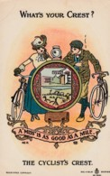 Cyclist's Crest 'Whats Your Crest' A Miss Is As Good As A Mile, Romance Theme C1900s Vintage Postcard - Cycling