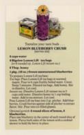 Bigelow Tea Drink Recipe 'Lemon Blueberry Crush' On C1970s(?) Vintage Marge Rosencrans Made Postcard - Recipes (cooking)