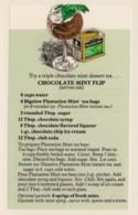 Bigelow Tea Drink Recipe 'Chocolate Mint Flip' On C1970s(?) Vintage Marge Rosencrans Made Postcard - Recipes (cooking)