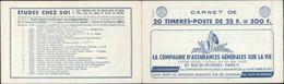 Carnet 20 Timbres YT 1011 C Pub Cie Assurance Générales Sur La Vie 11 RG écriture Guide Tricot 3 Suisses - Booklets