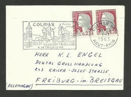 Oblitération Mécanique Du 1er Janvier 1963 / COLMAR >>> ALLEMAGNE / Paire Marianne De Decaris - Marcophilie (Lettres)