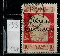 Italie Occupation - Italy - Italien 1921 Y&T N°133 - Michel N°115 (o) - Fiume - 10c Gabriele D'Annunzio - Fiume