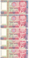 PERU 50000 INTIS 1988 P-142 LOT X5 UNC NOTES */* - Peru