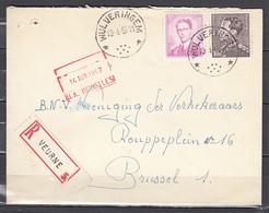 Aangetekende Brief Van Wulveringem (sterstempel) Naar Brussel - 1953-1972 Lunettes