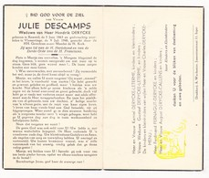 DP Julie Descamps ° Kemmel Heuvelland 1863 † Vlamertinge Ieper 1948 X Hendrik Derycke / Leterme Menu Fernagut Callens - Imágenes Religiosas