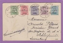 "CARTE POSTALE ""LUFTKURORT EUPEN"" AVEC 5 TIMBRES ""EUPEN & MALMEDY"" POUR LUXEMBOURG. - Weltkrieg 1914-18"