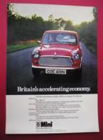 BRITISH LEYLAND MINI MOTOR CAR. 0RIGINAL 1975 MAGAZINE ADVERT - Advertising