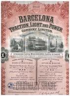 Action Ancienne - Barcelona Traction Light And Power Cy Ltd  - Titre De 1923 N°206440 - Ferrocarril & Tranvías