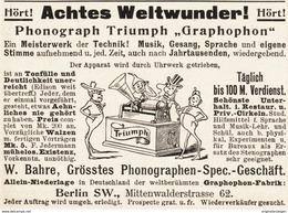 Original-Werbung/ Anzeige 1897 - PHONOGRAPH / GRAPHOPHON / BAHRE - BERLIN - Ca. 90 X 65 Mm - Reclame