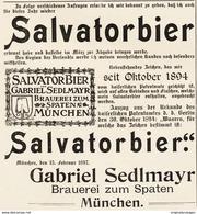 Original-Werbung/ Anzeige 1897 - SALVATORBIER / GABRIEL SEDLMAYR - MÜNCHEN - Ca.140 X 155 Mm - Pubblicitari