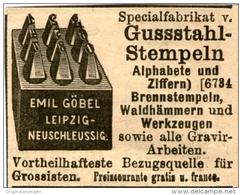 Original-Werbung/ Anzeige 1903 - GUSSSTAHL - STEMPEL / EMIL GÖBEL LEIPZIG - NEUSCHLEUSSIG - Ca.  50 X 40 Mm - Werbung