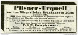 Original-Werbung/ Anzeige 1903 - PILSNER URQUELL / CAMPHAUSEN - Ca. 100 X 45 Mm - Werbung