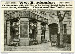 Original-Werbung/ Anzeige 1903 : PFEMFERT WILD/ GEFLÜGEL/ FISCHE / BERLIN - KANTSTRASSE 159 - - Ca  100 X 70 Mm - Werbung