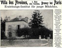 Original-Werbung/ Anzeige 1904 - VILLA DES PIVOINES / BRUNOY BEI PARIS / JANE GUILLEMIN -  Ca. 110 X 80 Mm - Reclame