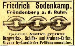 Original-Werbung/ Anzeige 1905 - KETTEN / FRIEDRICH SODENKAMP / FRÖNDENBERG AN DER RUHR - Ca. 50 X 30 Mm - Werbung