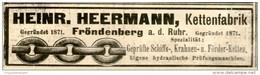 Original-Werbung/ Anzeige 1906 - KETTENFABRIK HEERMANN - FRÖNDENBERG - Ca. 100 X 25 Mm - Werbung