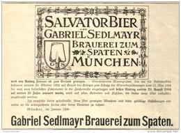 Original-Werbung/ Anzeige 1906 - SALVATOR BIER / GABRIEL SEDLMAYR / BRAUEREI ZUM SPATEN MÜNCHEN  - Ca 180 X 120 Mm - Pubblicitari