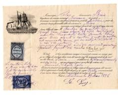 AUTOGRAPHE / AQUIT TIMBRE ESTAMPILLE CONTROLE 1878 Capitaine De Navire Port De Mordreuc - Pleudihen-sur-Rance - France