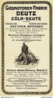 Original-Werbung/ Anzeige 1907 - GASMOTOREN-FABRIK DEUTZ - CÖLN-DEUTZ - Ca. 80 X 140 Mm - Publicités