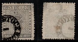 N002. SWEDEN 1855. SC#: 3 - USED - COAT OF ARMS. SMALL PINHOLE - SCV: US$ 950.00 ++ - Oblitérés