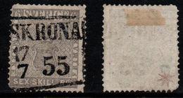 N111. SWEDEN 1855. SC#: 3 - USED - COAT OF ARMS. -SHORT PERF. LEFT BOTTOM -  SCV: US$ 950.00 ++ - Oblitérés