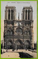 CPA Paillettes NOTRE-DAME De PARIS Façade ** Art Gothique 75 - Notre Dame De Paris