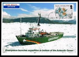 Falkland Islands • 2018 • Postcard • Greenpeace Ship - Stamps