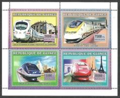 GUINEA 2006 TRAINS RAILWAYS TGV ARCHITECTURE LONDON PARIS GERMANY M/SHEET MNH - Guinea (1958-...)