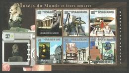 GUINEA 2006 ART MUSEUMS MONA LISA EGYPTOLOGY CAMERA SET OF 2 SHEETS MNH - Guinea (1958-...)