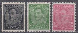 Yugoslavia Kingdom 1931 Very Rare All Three Examples That Exists On Pelure Paper, Mint Hinged - 1931-1941 Königreich Jugoslawien