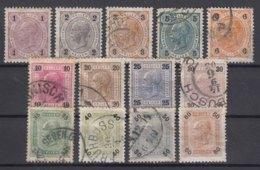 Austria 1901 Faser Paper With Lackstreifen Mi#84-96 Complete Set, Mint/used - Usados