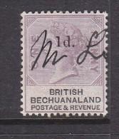 BECHUANALAND: QUEEN VICTORIA 1888, 1d Opt  On 1d Lilac & Black, Fiscal, Pen Cancel - Bechuanaland (...-1966)