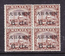 JAPAN OCCUPATION OF MALAYA: 6 Cents On 5 Cents Of Slangor, Block Of  4, MNH ** - Occupation Japonaise