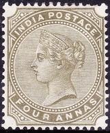 INDIA 1885 QV 4 Anna Olive-Green SG95 MH - 1882-1901 Empire