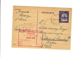 Ganzsache GG P 12 02:  03.03.44 Biecz Nach Krakau, Rotes Kreuz - Occupation 1938-45