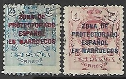 Spanish Morocco  1916  Sc#58 25c & 62 1pta Used  2016 Scott Value $5.65 - Spanisch-Marokko