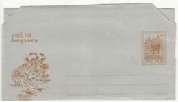 Aerogramme Unused, 6.50p Motif Deer, Stag, Animal. Tiger, Elephant, Tree, Etc., As Scan - Elefanti