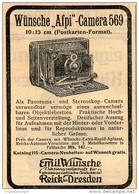 Original-Werbung/ Anzeige 1909 -  WÜNSCHE AFPI CAMERA / EMIL WÜNSCHE - REICK / DRESDEN- Ca. 75 X 100 Mm - Pubblicitari